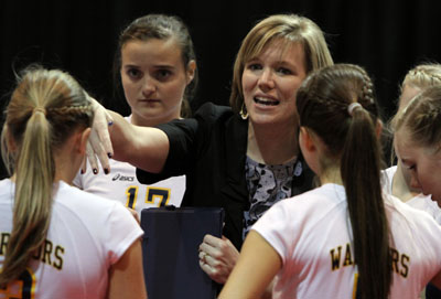 Cottage Hill Coach Jennifer Newton guides her team to its first Class 2A title. (Photo courtesy creativefx)