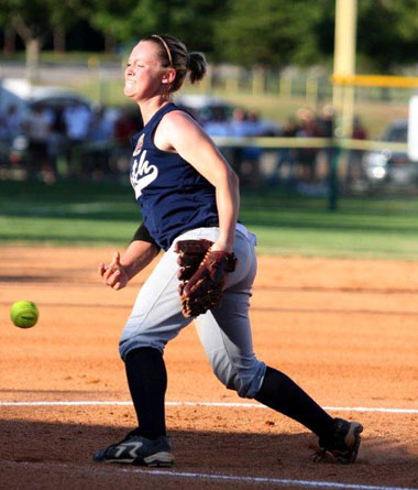 Sparkman's Tori Edwards, the North's game 1 starter, combined with two teammates for a two-hit shutout in the 2010 All-Star Week competition. (KDPSportsPhoto)