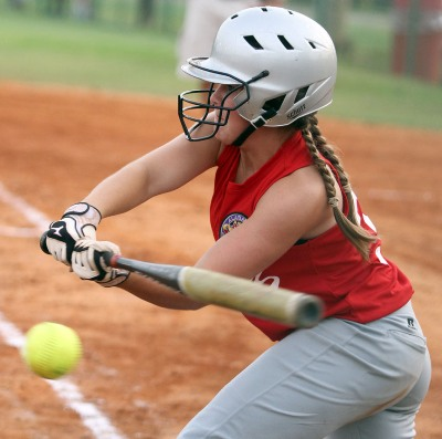 Maddie Ridgeway of Oak Mountain attempts bunt in 2011 contest. (Creativefx photo)