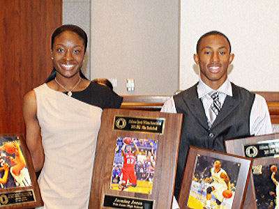 Jasmine Jones (left) of Bob Jones and Craig Sword of Carver-Montgomery are named Miss and Mr. Basketball for 2012 by the Alabama Sports Writers Association. (Photo special to AHSAA)